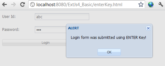 ExtJs ENTER key example
