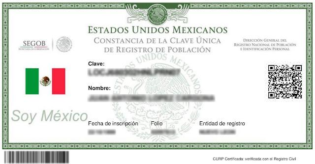 CURP verificada y Certificada para descargar y obtener en PDF para imprimir 2019 2020 2021 2022
