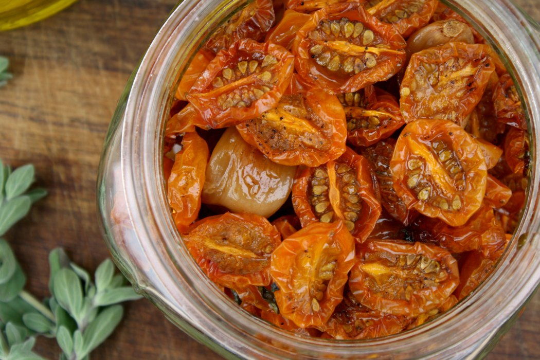 Slow Roasted Yellow Cherry Tomatoes w/ Garlic & Marjoram
