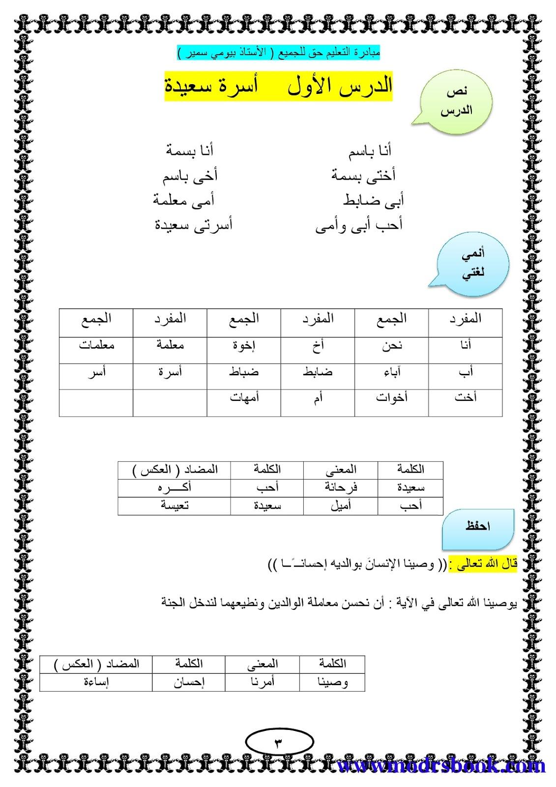 مذكرة لغة عربية الصف الاول الابتدائي ترم ثاني 2017