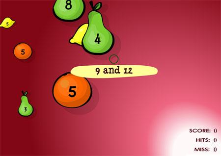 Juego para encontrar el MCD de dos números tirando fruta