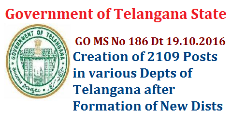 GO MS No 186 Creation of 2109 Posts after Formation Districts in Telangana go-ms-no-186-creation-of-2109-posts-various-depts-telangana-stateRevenue Department – Formation / Reorganization of Districts, Revenue Divisions and Mandals - Creation of two thousand one hundred and nine (2109) posts under Chief Commissioner of Land Administration, Telangana, Hyderabad – Orders – Issued. FINANCE (HRM-I) DEPARTMENT G.O.Ms.No.186 Dated:19.10.2016. Read:- Revenue Department, U.O.No.21167/Ser.I/2016, dt:21.09.2016.