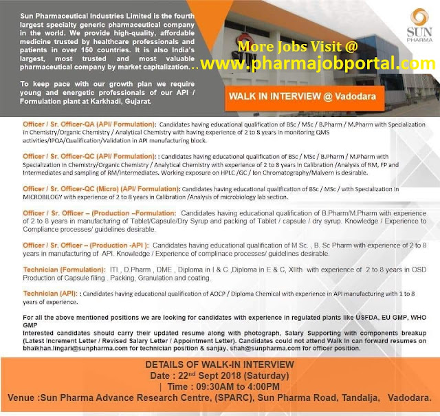SUN PHARMA Walk In Interview For Multiple Vacancies in  Quality Assurance, Quality Control, Microbiology, Production, Packing at 22 Sep
