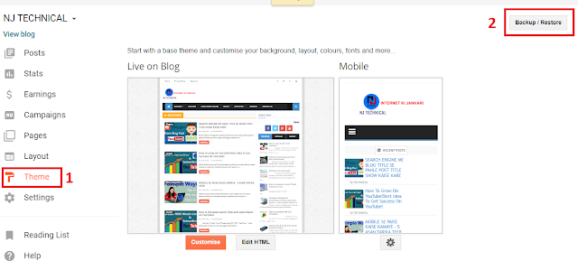 how to upload new theme in blogger?
