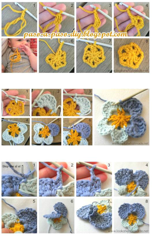 paso a paso pansy crochet