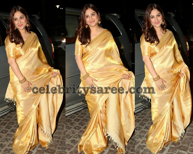 Gowri Munjal in Gold Saree
