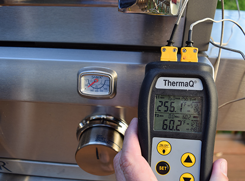 Testing the Saber Grill using the Thermoworks ThermaQ.