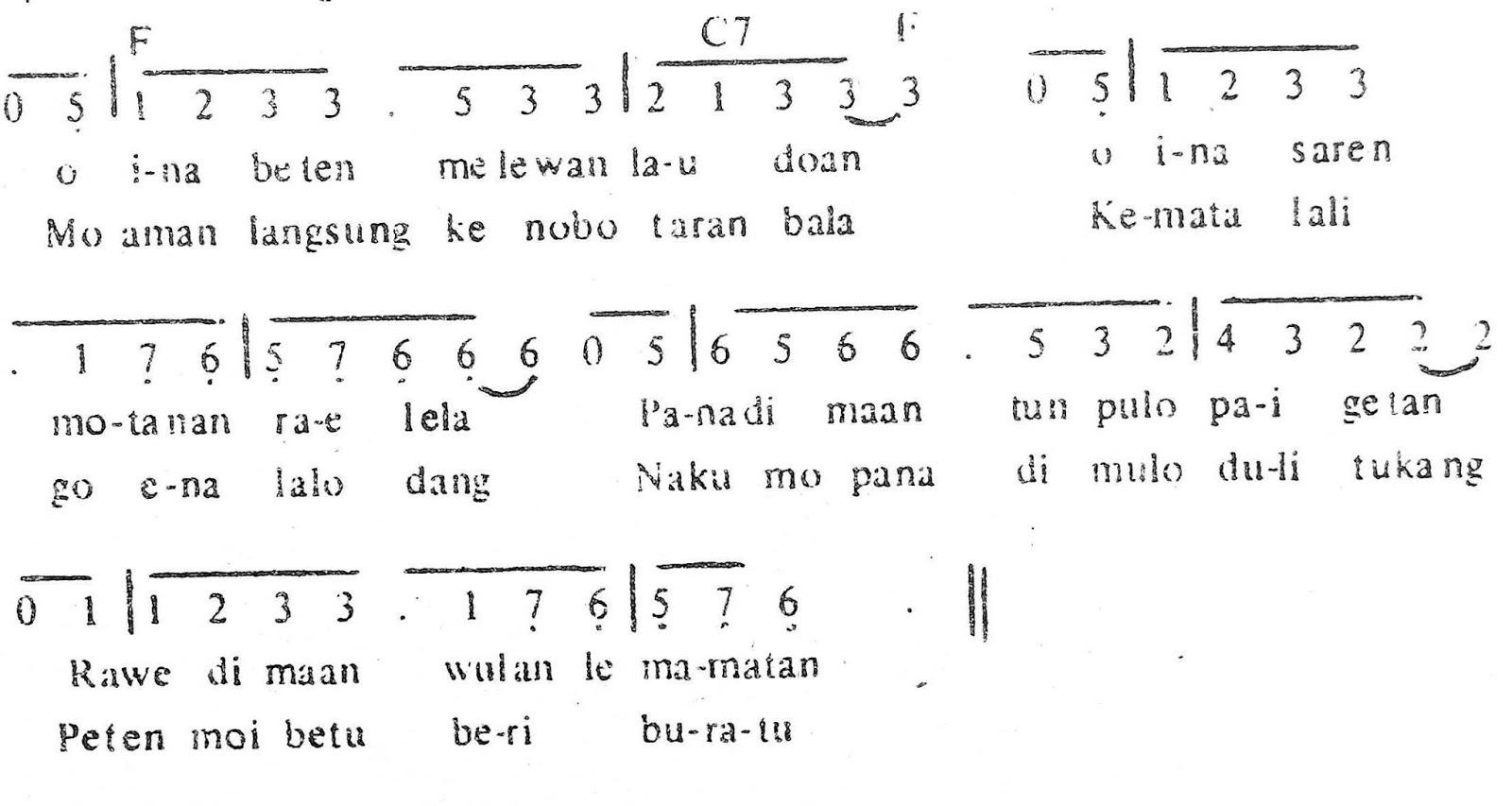 Chord & Arti Lirik Lagu Nusa Tenggara Timur: Tutu Koda + Not Angka