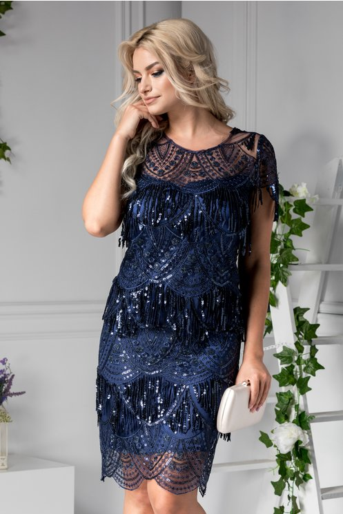 Rochie midi eleganta de lux bleumarin din dantela cu franjuri