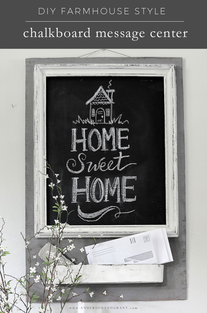 Gray and white DIY chalkboard message center