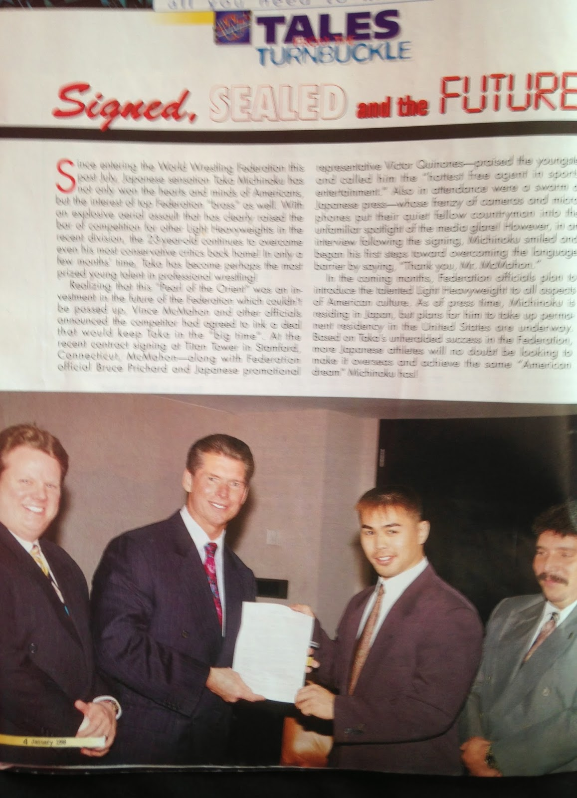 WWF MAGAZINE - JANUARY 1998 - Taka Michinoku signs with the World Wrestling Federation