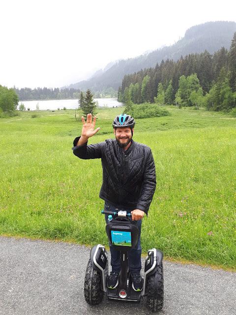 Bjorn Troch The Social Traveler riding a segway in Kitzbühel, Tyrol, Austria