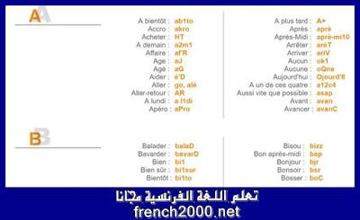 Dictionnaire SMS & Langage SMS    لغة الرسائل القصيرة