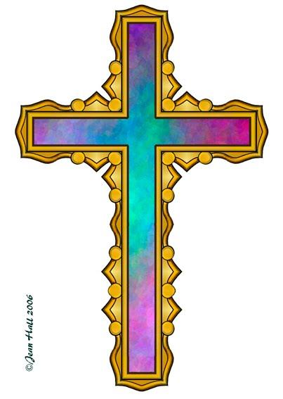 ArtbyJean - Easter Clip Art: Four rainbow colored Crosses ... (403 x 567 Pixel)