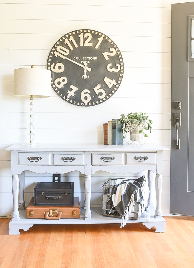 Light gray farmhouse console table makeover