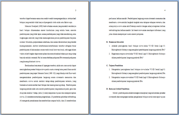 Contoh Karya Tulis Ilmiah Guru Kelas SD Format Microsoft Word
