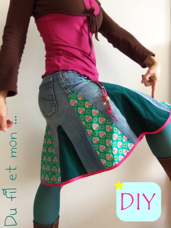 du fil et mon diy recycler un vieux jean en jupe. Black Bedroom Furniture Sets. Home Design Ideas