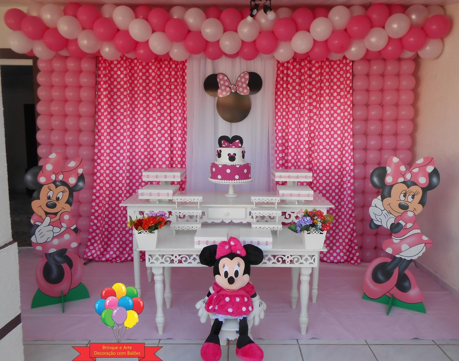 Brinque e arte decoraç u00e3o com balões DECORA u00c7ÃO MINNIE ROSA -> Decoração De Zebra Para Aniversario