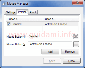 Mouse Manager scheda Profiles
