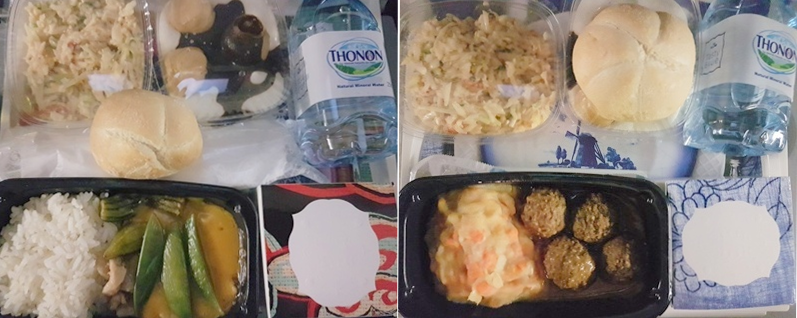 KLM inflight meals from Amsterdam to Hong Kong airplane food