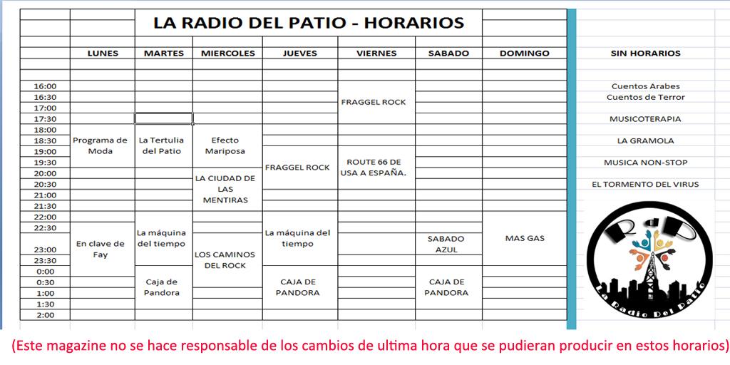 AMM Life & Style: AMM NUM 32 - LA RADIO DE EL PATIO - HORARIOS