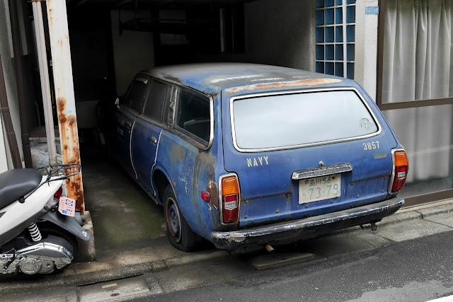 vintage blue car in tokyo