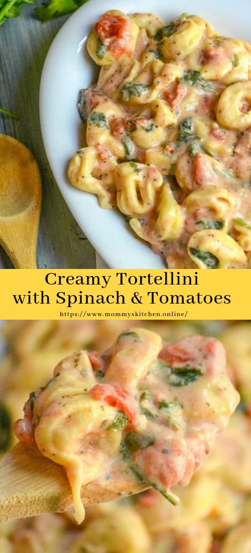 Creamy Tortellini with Spinach & Tomatoes #lunchrecipe #quick&easy
