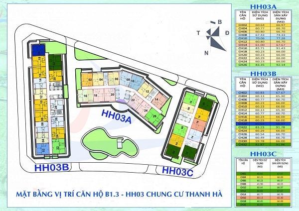 sơ đồ tòa nhà chung cư hh03 thanh hà