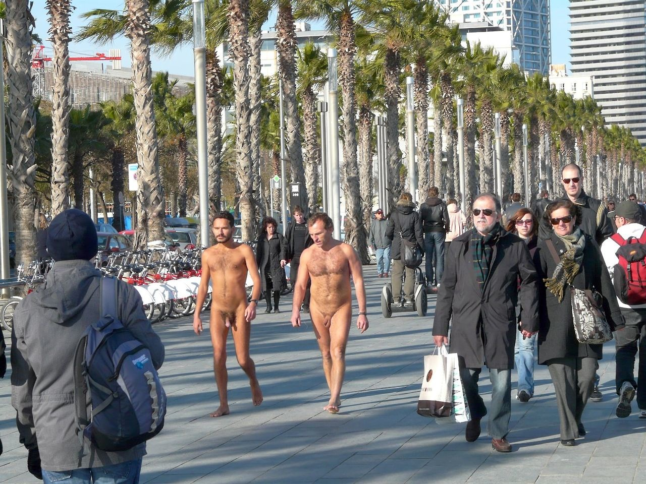 Naked black guy in the street
