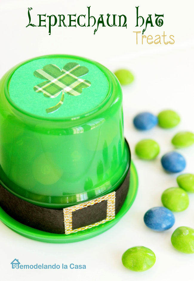 dollar store snack containers as Leprechaun hats
