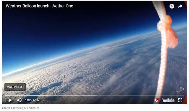 Imagem do vídeo onde supostamente é mostrada a curvatura da Terra