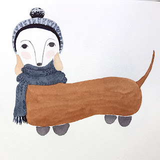 Dachshund in hat and scarf illustration in watercolor and pencil - by Amy Lamp