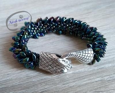 Adzik tworzy - Bransoletka handmade szydełkowo-koralikowa wąż