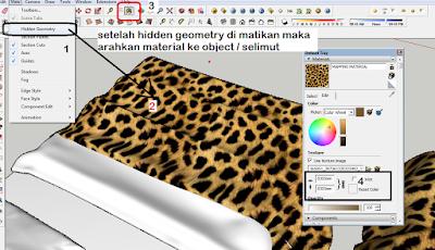 cara mengatur material di object yang tidak rata,mapping material sketchup
