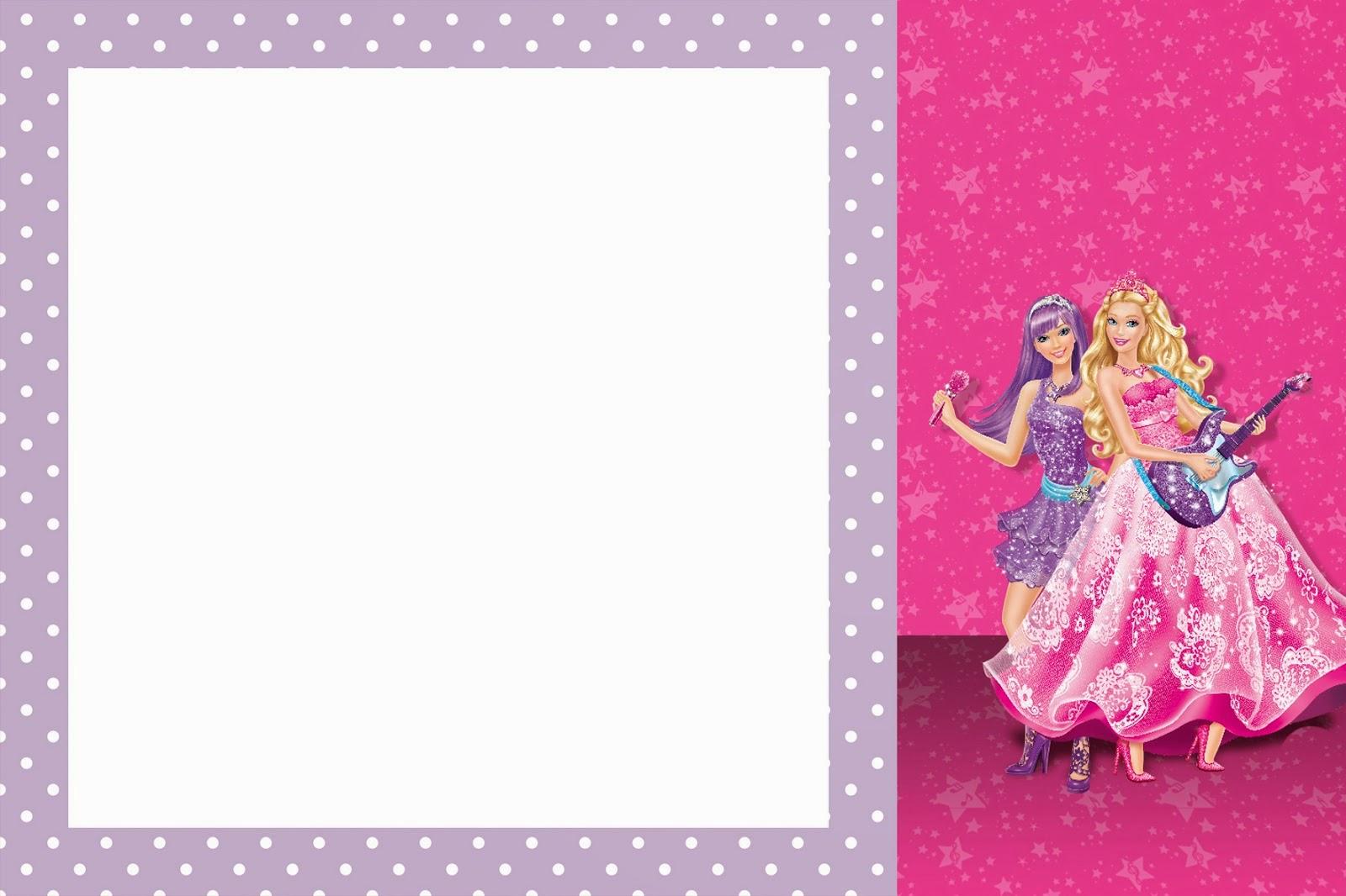 Barbie Moda y Magia y Barbie Rock Star: Imprimibles y Tarjetas o ...