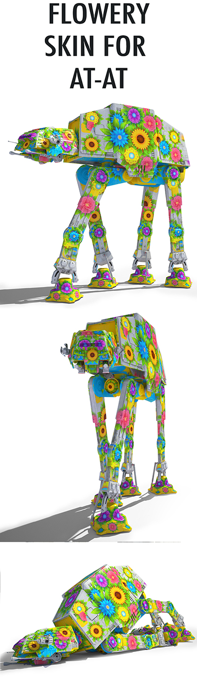 Game Ready Star Wars AT-AT Imperial Walker 3D model – Flowery skin only for the AT-AT 3D model