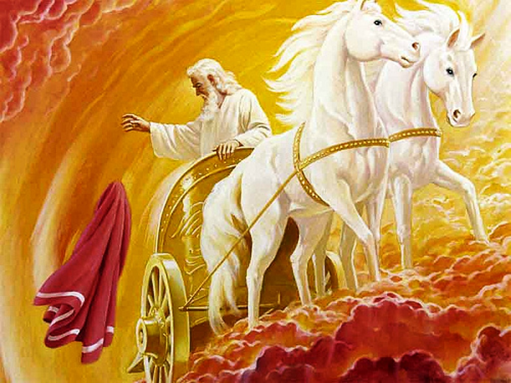 Elijah is taken glorified, by a fiery chariot to heaven and cast his mantle to Elisha