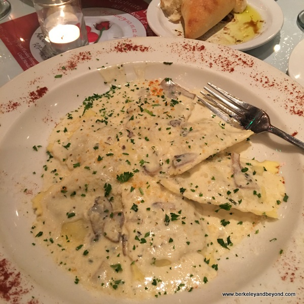 mushroom ravioli at Adam's Restaurant in Willits, California