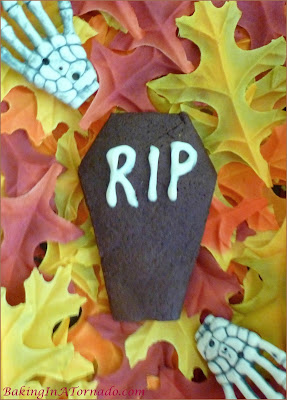 Chocolate Coffin Cookies, a cunchy chocolate cookie cut into the shape of a coffin. Happy Halloween! | Recipe developed by www.BakingInATornado.com | #recipe #chocolate #Halloween