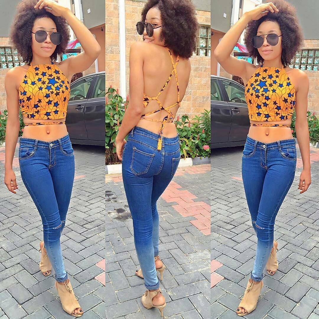 ankara crop top -off cold shoulder-jeans