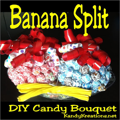 Surprise someone with this Banana Split DIY Candy Bouquet as a birthday gift or as a centerpiece at Ice Cream party this summer.  It's an easy diy project and so much fun to eat and enjoy using simple ingredients like Dum Dum candy suckers, Styrofoam balls, ribbon bows, Twizzler candies, and an ice cream candy dish.