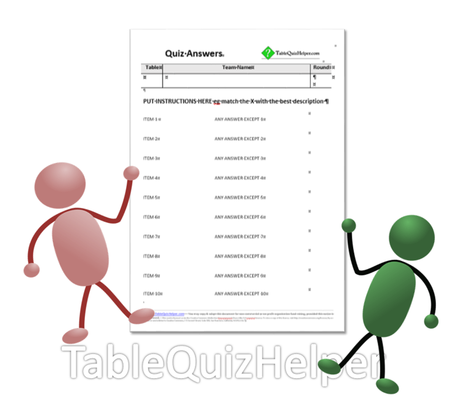 small resolution of blank table quiz answer sheets for match the pairs question rounds