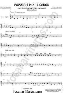 Partitura de Corno Inglés Popurrí Mix 16 Partituras de Freere Jacques, Pasa el Batallón, Eram Sam Sam Sheet Music for English Horn