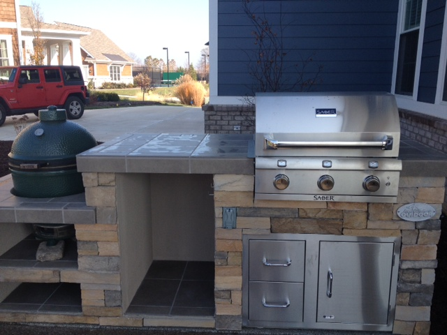 Big Green Egg/smoker And Saber Grill Custom Outdoor Kitchen