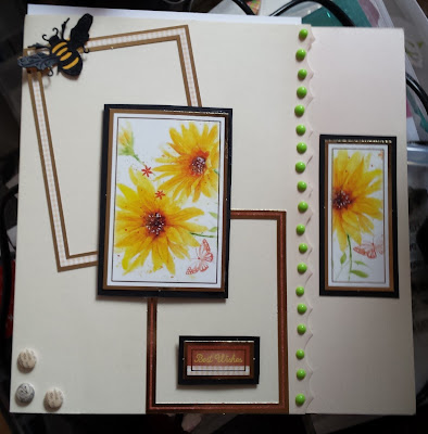 "Best Wishes floral 8"" cream square card"