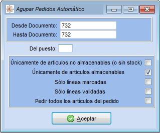 Pantall para generar un pedido a proveedor desde las ordenes de reparación del software de talleres