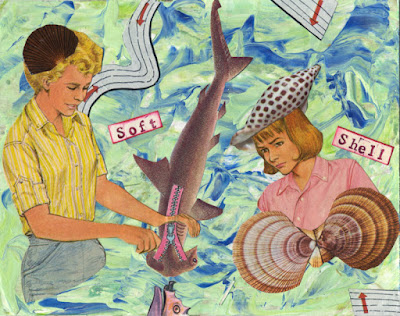 Paper collages with people and fish