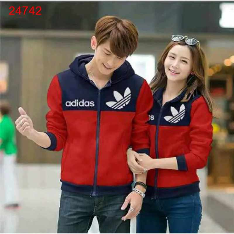 Jual Jacket Couple Jacket Adidas Logo Navy Merah - 24742