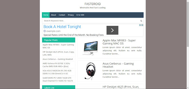 Fasteroid Blogger Templates : Minimalist and Super Fast Loading