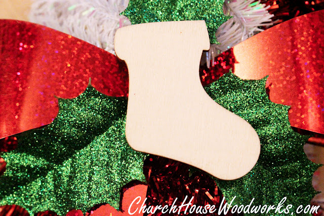 Wooden Stocking Ornaments - Wooden Christmas Ornaments DIY Crafts Projects by ChurchHouseWoodworks.com